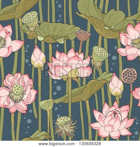 Detailed blooming pink lotus vector seamless background