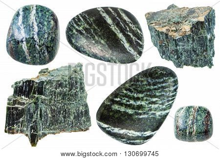 Set Of Chrysotile Gemstones Isolated