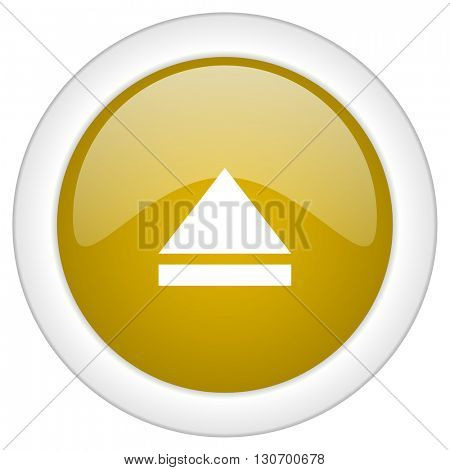 eject icon, golden round glossy button, web and mobile app design illustration