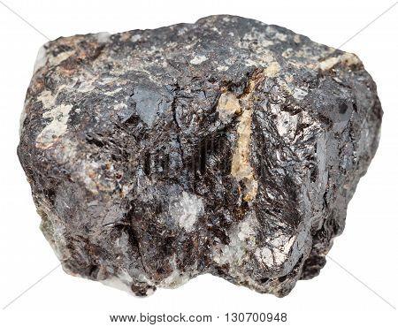 macro shooting of natural mineral stone - specimen of sphalerite (zinc blende) isolated on white background poster
