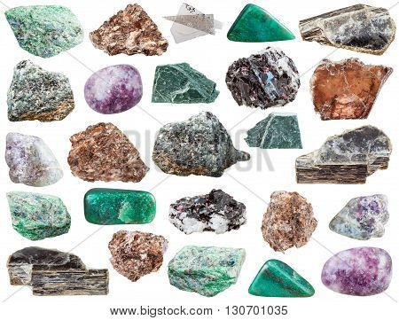 Various Mica Gemstones And Rocks Isolated