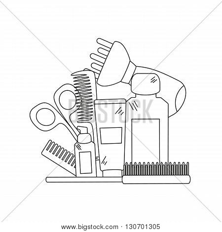 Beauty background with barber shop tools - hair dryer, comb, scissors and other tools for hair care. Vector illustration.