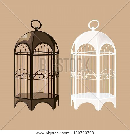 Set of black and white birdcages. Vector EPS10