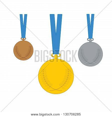 Gold, Silver, Bronze Medal. Set Of Medal Icons. Vector Illustration Isolated On White Background.