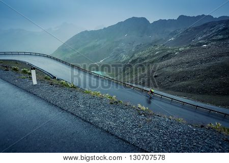 bicycle, cyclist, mountain, harsh, glacier, pine, spruce, alps,