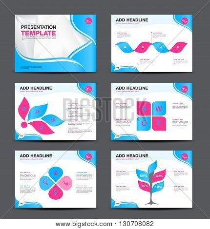 Vector Template for presentation slides with graphs and charts and blue pink background flyer design Infographic Element Business infographic Layout design Modern Style