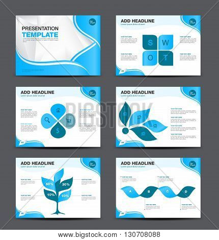Vector Template for presentation slides with graphs and charts and blue background flyer design Infographic Element Business infographic Layout design Modern Style