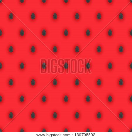 Seamless pattern with dark watermelon seeds and bright pink watermelon pulp