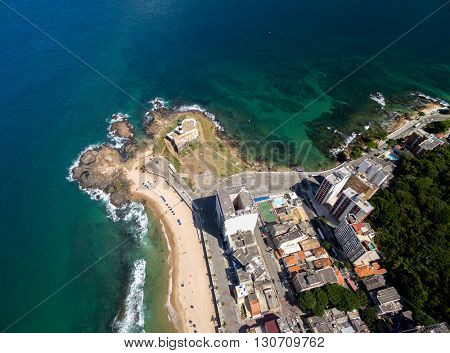 Aerial view of Farol da Barra (Barra Lighthouse) and Salvador cityscape, Bahia, Brazil