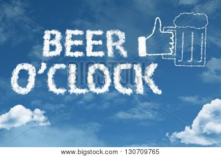 Beer O'Clock cloud word with a blue sky