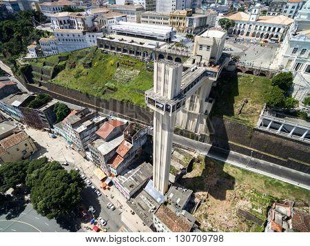 Aerial view of Lacerda Elevator in Bahia, Brazil