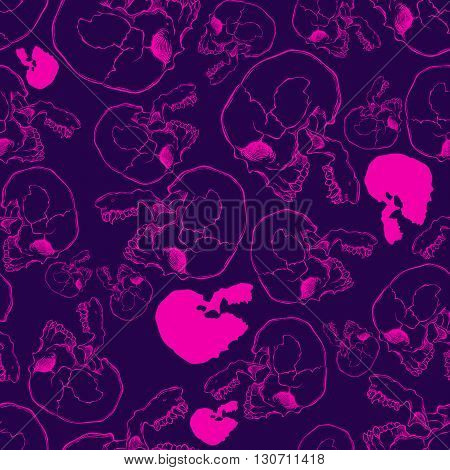 Terrible frightening seamless pattern with skull in cartoon style