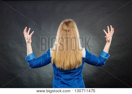 Furious Woman Making Hands Gestures.