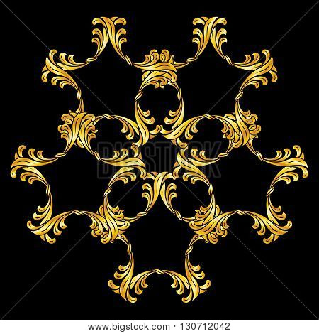 Abstract florid pattern in golden colors over black