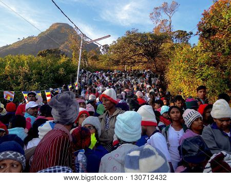 Adam's Peak, Sri Lanka, February 14, 2016: Walk up to Adam's Peak togther with thousands of other walkers.