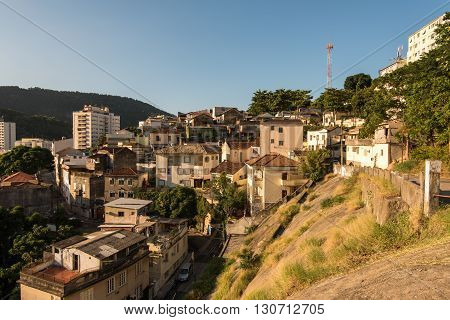Apartments and Houses Between the Hills of Rio de Janeiro in Laranjeiras Neighborhood poster