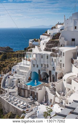 Cityscape of local hotel in Santorini island, Oia, Greece