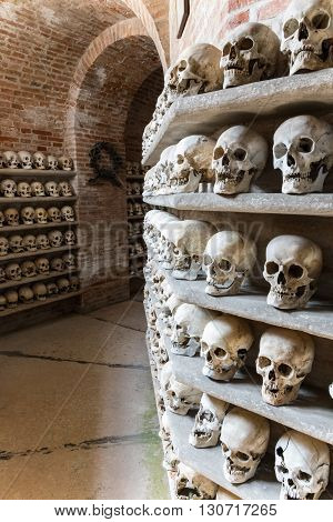 CUSTOZA ITALY - CIRCA APRIL 2015: Ossuary of Custoza was erected in 1879 to keep the remains of the fallen of the First and Third Italian War of Independence (in 1848 and 1866 respectively).