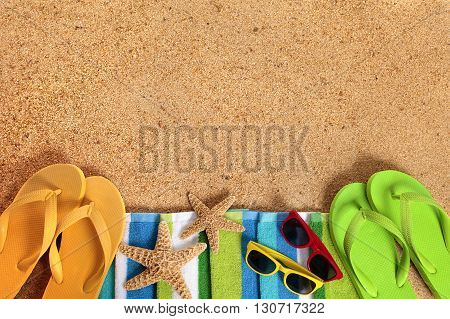 Caribbean summer beach background sunglasses couple sunbathing copy space
