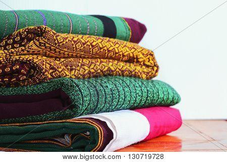 Craftsmanship Textiles silk folk art in Thai pattern on table