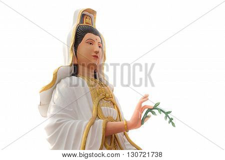 Beautiful Statue of Godness Guan Yin with white background