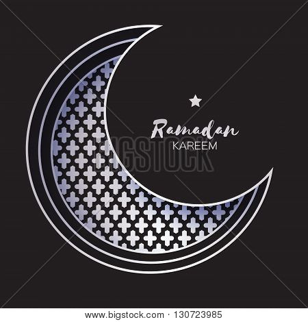 Silver Crescent Moon Mosque Window Ramadan Kareem Greeting card with arabic arabesque pattern. Holy month of muslim. Metal foil Symbol of Islam. Vector illustration.