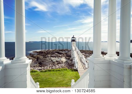 Marshall Point Light as seen from the light keeper's porch in Port Clyde, Maine.