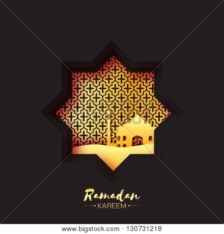 Black Gold Origami Mosque Star Window Ramadan Kareem Greeting card with arabic arabesque pattern. Holy month of muslim. Symbol of Islam. Applique Vector illustration.