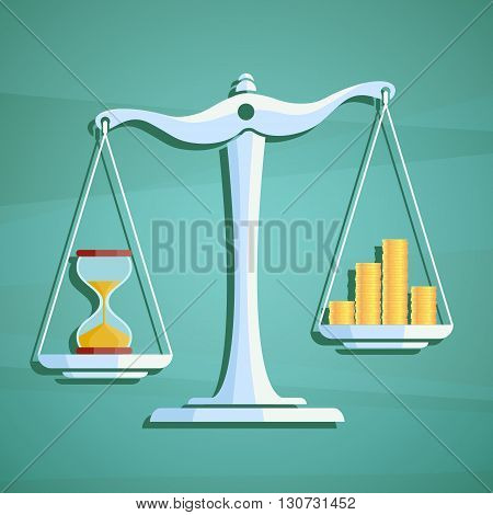 Scales with a heap gold coins and hourglass. Stock vector illustration.