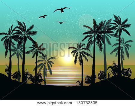 Summer Beach Night Palm Silhouettes On Summer Sunset With Beautiful Night Sky Background. Tropical S