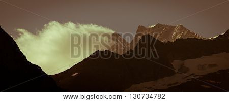 Berner Oberland, Swiss Mountains, snow capped mountains and deep valleys stunning view breath-taking panorama