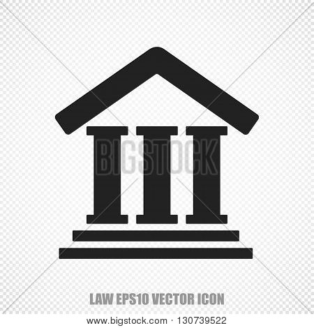 The universal vector icon on the law theme: Black Courthouse. Modern flat design. For mobile and web design. EPS 10.