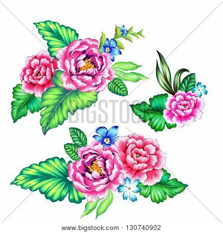 set of 3 mexican bouquets with beautiful vibrant roses , traditional style, isolated on white poster