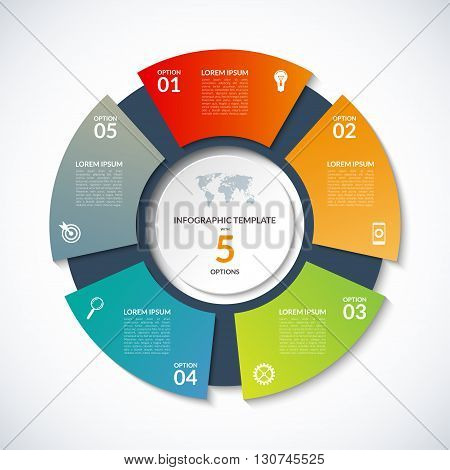 Vector circle template for infographics. Business concept with 5 options, steps, parts, segments. Banner for cycling diagram, round chart, pie chart, business presentation, annual report, web design