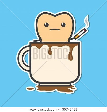 Tooth in cup of coffee with cigarette. Coffee and cigarette makes your teeth yellow. Funny vector illustration