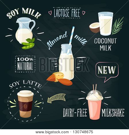 Chalkboard lactose-free beverages ADs set: soy milk, coconut milk, almond milk, soy latte, dairy-free milkshake. Lactose intolerance. Stylish template. Vector illustration.
