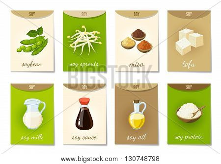 Set of AD-cards, banners, tags, package with cartoon soy food - soy milk, soy sauce, soy sprouts, tofu, miso, soy oil, soy protein and soy beans. Vector illustration, isolated on white, eps 10.