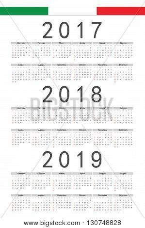 Set Of Rectangle Italian 2017, 2018, 2019 Year Vector Calendars