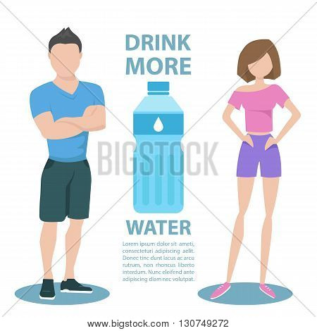 Fitness couple with inscription Drink more water. Healthy lifestyle concept. Motivation poster template. Bottle of water. Flat style vector illustration.