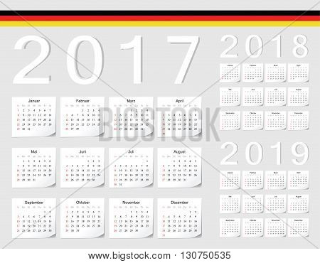 Set Of German 2017, 2018, 2019 Vector Calendars