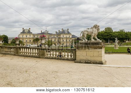 Paris, France - May 14: It is Luxemburg Palace in Paris from the Jardin du Luxembourg May 14, 2013 in Paris, France.