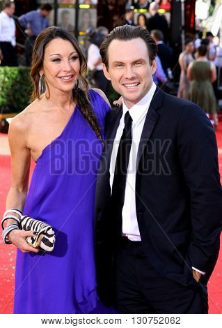 Christian Slater and Tamara Mellon at the 60th Primetime Emmy Awards held at the Nokia Theater in Los Angeles, USA on September 21, 2008.
