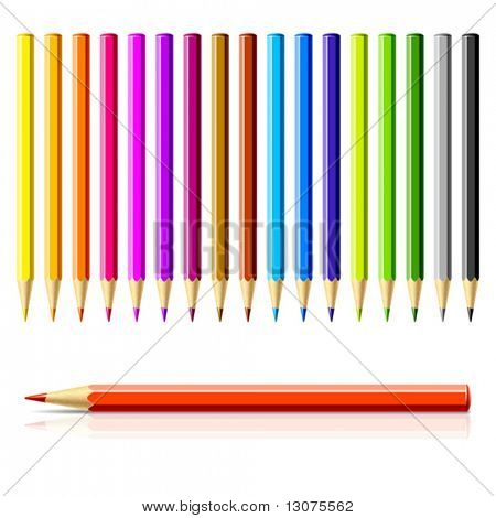 Set of color pencils. Vector.
