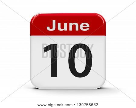 Calendar web button - The Tenth of June three-dimensional rendering 3D illustration