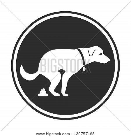 Dog poop sign. Shitting is allowed. Poo poo. Vector stock illustration