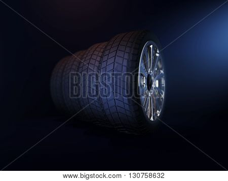 Set four tyres. 3D illustration isolated on white background. 3D rendering