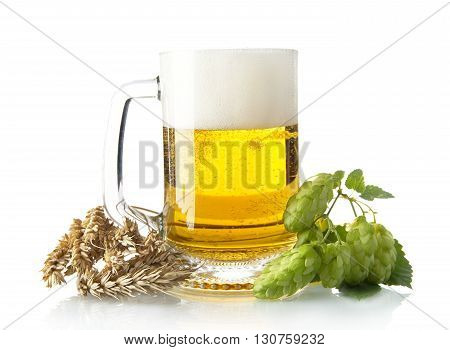 Mug Of Beer On Table With Hop Cones, Ears Of Wheat Isolated On White