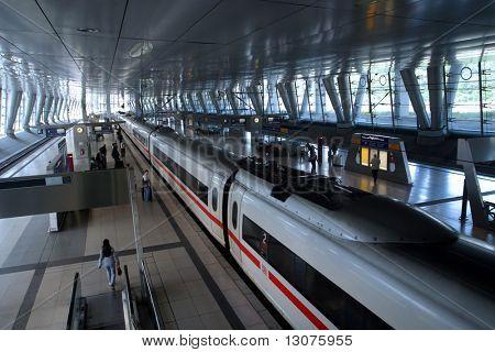 Modern train and trainstation