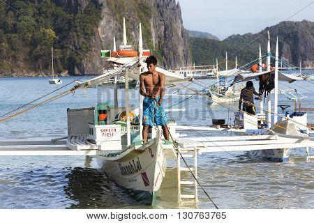 El NIDO, PHILIPPINES - FEB. 16: Morning in the harbor fishing village of El Nido FEB. 16, 2016 in El Nido Philippines.
