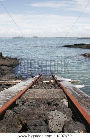 Train Track Into The Ocean